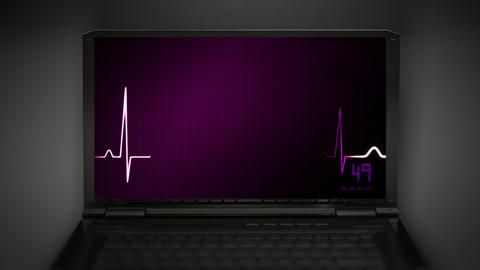 EKG monitor red love heart Stock Video Footage