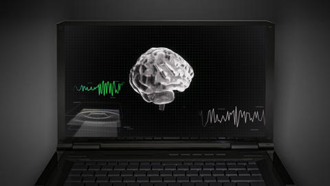 white 3d brain wave scanning screen 3 D Stock Video Footage