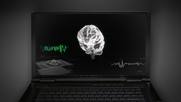white 3d brain wave scanning screen 3 D Animation