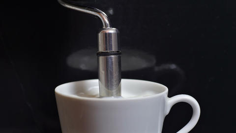 Heating Milk In A Coffee Machine stock footage
