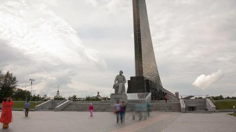 Monument to Konstantin Tsiolkovsky hyperlapse Stock Video Footage