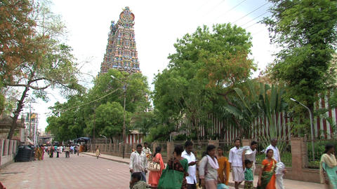 People walking around The Meenakshi Temple Stock Video Footage