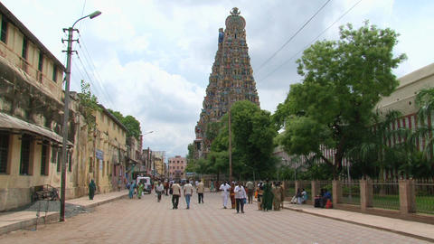 People at The Meenakshi Temple Footage