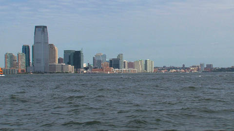 New Jersey, New York City skyline with ferry passi Stock Video Footage