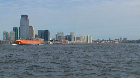 New Jersey, New York City skyline with ferry passi Footage
