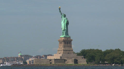 Ferry behind The Statue of Liberty Stock Video Footage