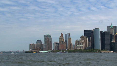 New York City Skyline view from government island Stock Video Footage