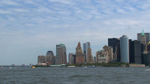 New York City Skyline View From Government Island stock footage