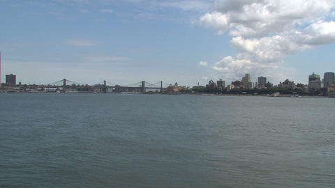 Brooklyn bridge view from the water Stock Video Footage