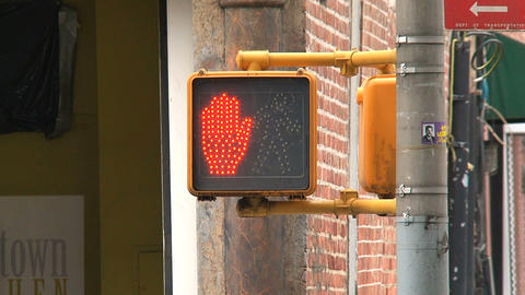 Traffic light stop, red hand and ready to walk clo Stock Video Footage