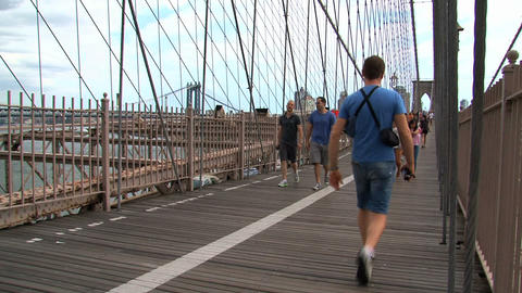 People walking on the brooklyn bridge Footage