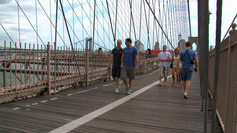 People walking on the brooklyn bridge Stock Video Footage