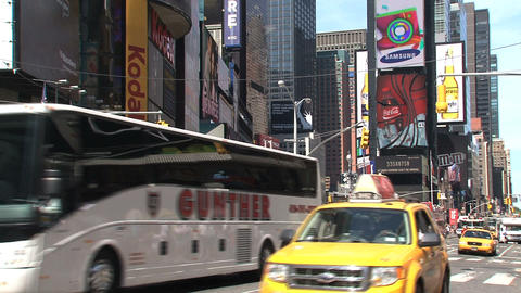 Fire truck alarming at Times Square Footage