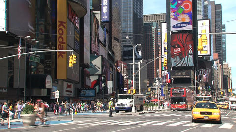 Fire truck alarming at Times Square Stock Video Footage