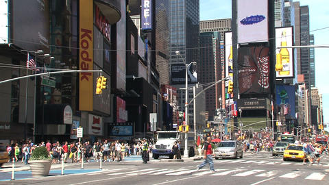Times Square on a summer day full of people Footage