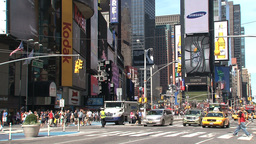 Times Square on a summer day full of people Stock Video Footage
