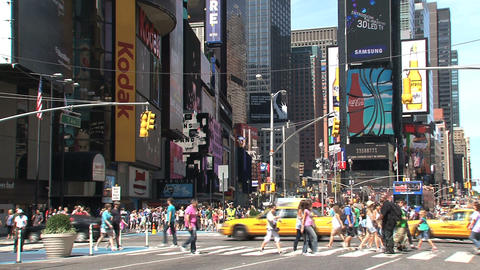 Wide shot of Times Square at a summer day Stock Video Footage