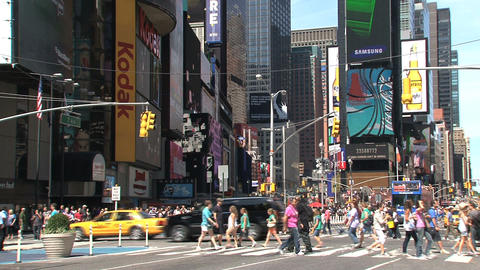 Wide shot of Times Square at a summer day Footage