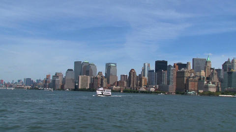 Skyline New York City view from a ferry in 2010 Footage
