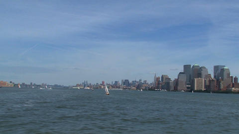 Skyline New York City view from a ferry in 2010 Stock Video Footage