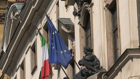 Italian and European flag Stock Video Footage