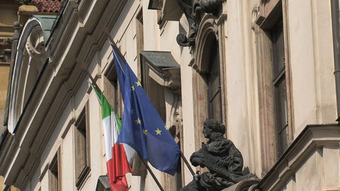Italian And European Flag stock footage