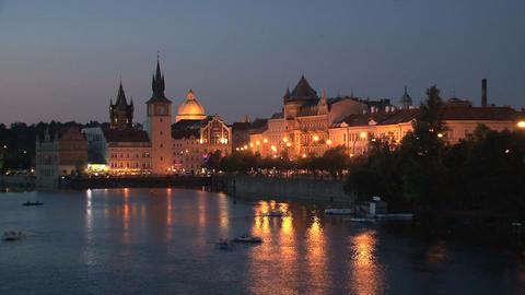 Prague at night time lapse Footage