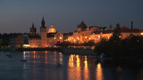 Prague at night time lapse Stock Video Footage