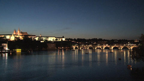 Charles Bridge at night Footage