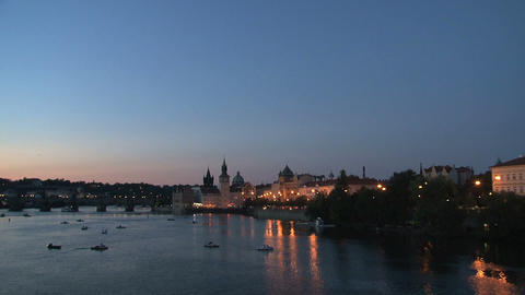 Charles Bridge at night Footage