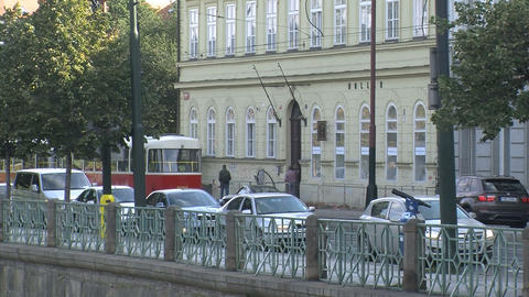 Red tram Prague Stock Video Footage