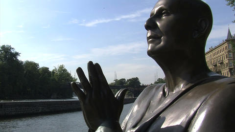 The statue of Harmony slide shot Stock Video Footage