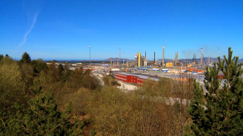 Oil refinery processing North Sea oil beside a nordic fjord Footage