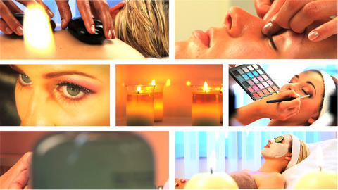 Montage of health & beauty spa images Stock Video Footage