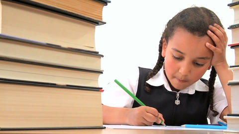 Cute african american schoolgirl early learning with colored pencils Footage
