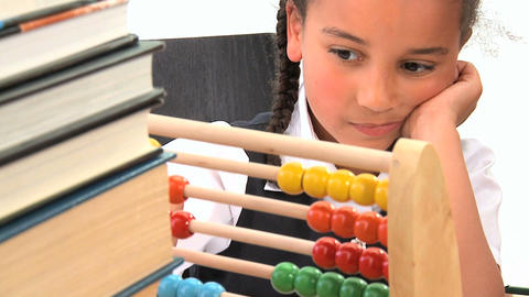 Cute african american schoolgirl early learning counting... Stock Video Footage