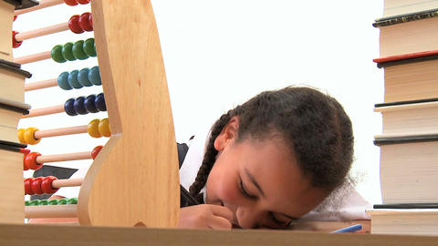 Cute african american schoolgirl early learning with... Stock Video Footage