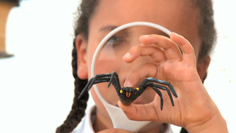 Cute african american schoolgirl examines a plastic spider Footage
