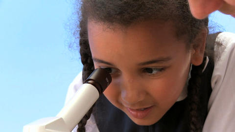 Cute african american schoolgirl with teacher learning... Stock Video Footage