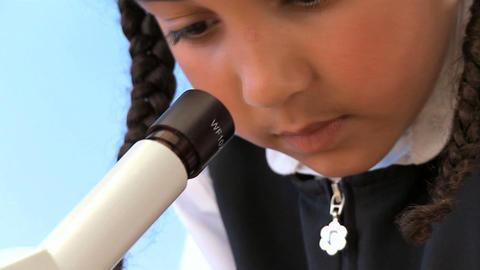 Cute african american schoolgirl early learning... Stock Video Footage
