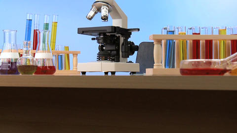Elementary lab equipment for early learning science Stock Video Footage