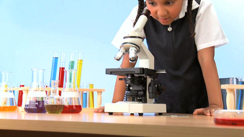 Cute african american schoolgirl early learning... Stock Video Footage