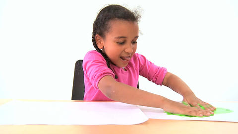 Cute african american child early learning with hand... Stock Video Footage