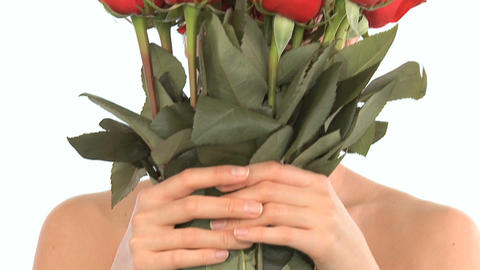 Young oriental japanese girl enjoying the therapeutic pleasure of flowers Footage