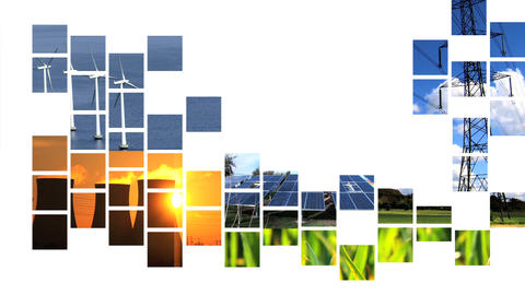 Collage of moving renewable energy graphics Footage
