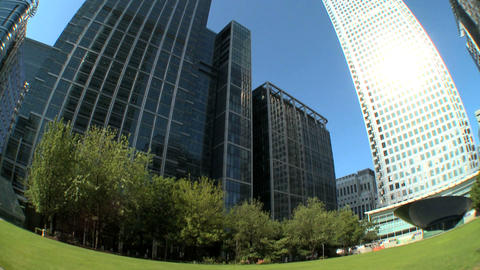 Modern city buildings & workplaces in fish-eye lens Footage