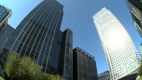 Modern city buildings & workplaces in fish-eye lens Stock Video Footage