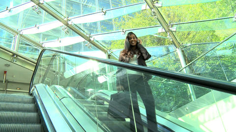 Smart young city businesswoman in modern workplace Stock Video Footage