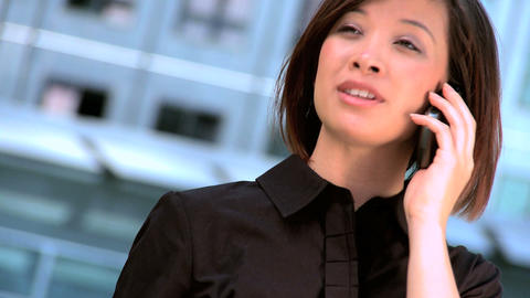 Ambitious young city businesswoman talking on a... Stock Video Footage