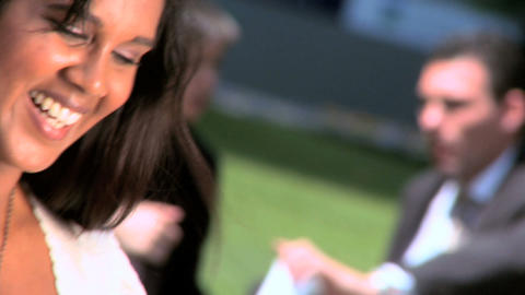 Young city business woman with laptop relaxing outdoors... Stock Video Footage